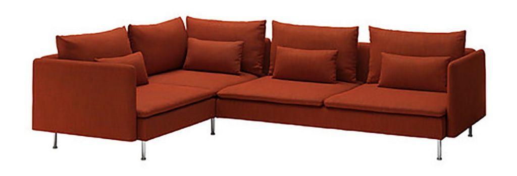 Sundal, oransje sofa fra Ikea, kr 10890. Foto: Produsenten