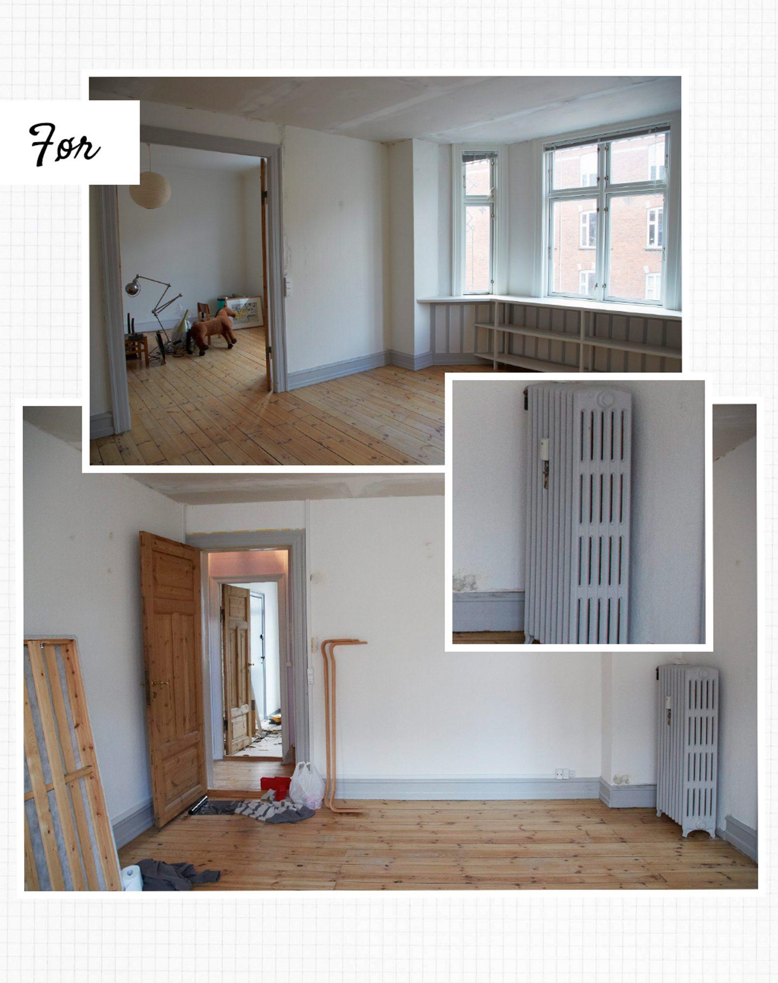 FØR: Gulvene var mørke og de grå gulvlistene var svært markante. Rommet manglet hyggefaktor. FOTO: Anitta Behrendt