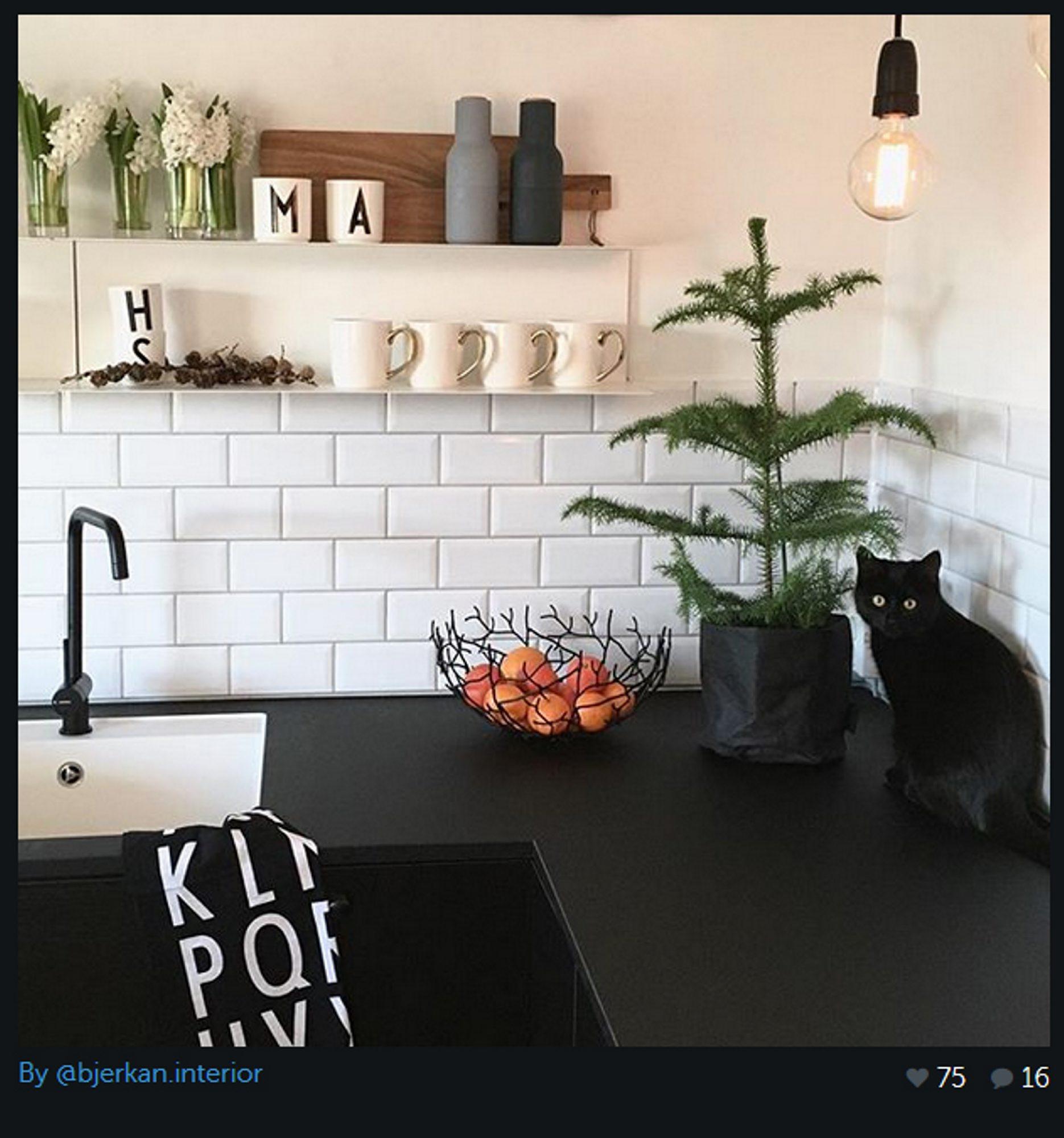 En pendel som dette er bare så stilig. Du kan finne mange forskjellige typer lyspærer og støpsel. Dette bildet er fra kjøkkenet til @Bjerkan-Interior på Instagram.