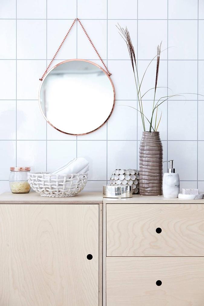 Alternativt speil på badet, kobberspeil fra House Doctor.