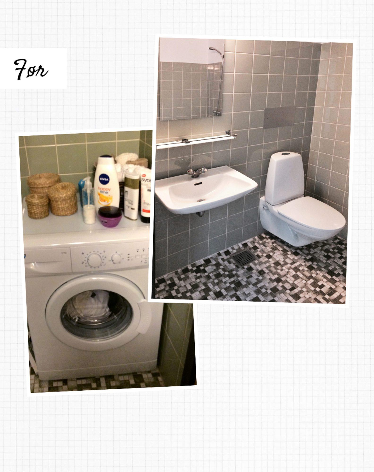 Synlig vaskemaskin og kjedelige, grå toner gjorde at badet sårt hadde behov for en oppfriskning. FOTO: Tia Borgsmidt