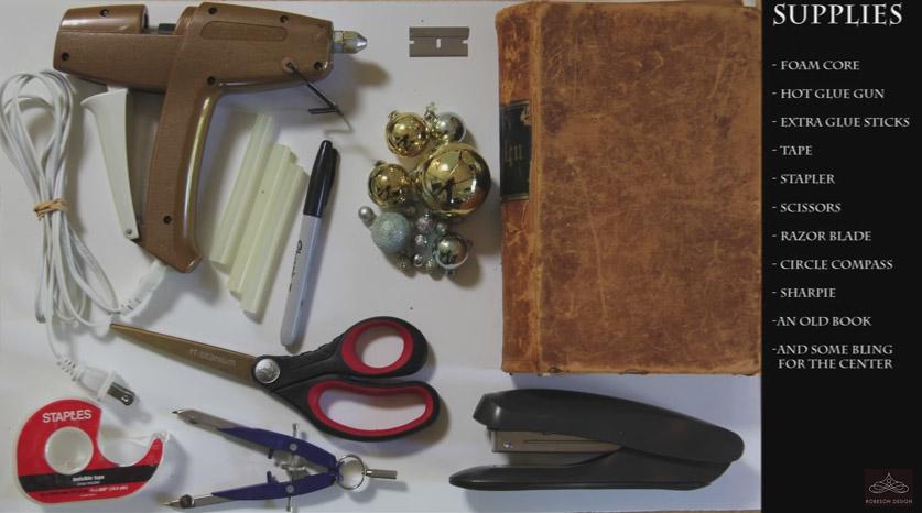 utstyr til å lage julekrans av gamle bøker